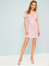 V Neck Bow Printed Short Sleeve Blush Dress