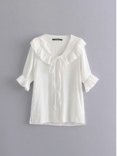 V Neck Ruffled Detail Solid Ladies Blouse