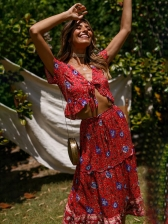 Bohemia Style Floral Two Piece Skirt Sets