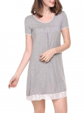 Casual Crew Neck Lace Detail Short Nightgown