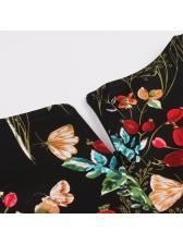 Vintage Floral Off Shoulder Big Swing Dress