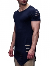Crew Neck Hollow Out Solid Tee For Men
