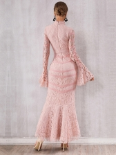 Boutique Tie Wrap Fishtail Flare Sleeves Evening Dress