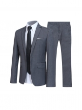 Lapel Collar Solid Fitted Business Mens Suit