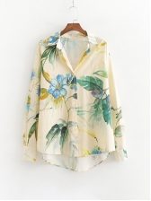 Vacation Style Floral Long Sleeve Shirt