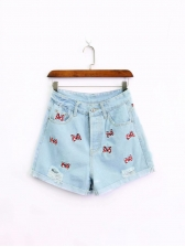 Butterfly Embroidery Denim Short Pants