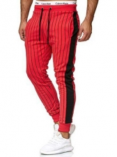 Contrast Color Striped Tight Long Pants