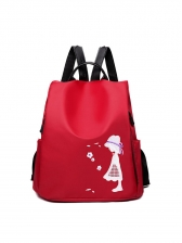 Nylon Cartoon Embroidered Backpack For Women