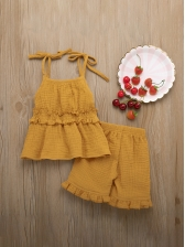 Summer Solid Bow Sleeves Girls Two Pieces Sets