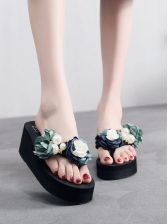 Flower Pearl Splicing Thong Platform Slide Slippers