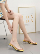 Simple Design 2 Strap Chunky Clear Heeled Slippers
