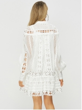 Stand Collar Lace Pierced Long Sleeve Tiered Dress