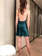Sexy Solid Color Backless Straps Dress