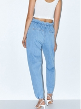 Euro High Waist Blue Jeans For Women
