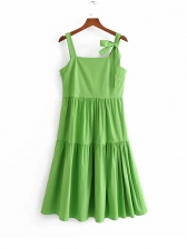 Fresh Tied Shoulder Pleated Solid Sleeveless Dress