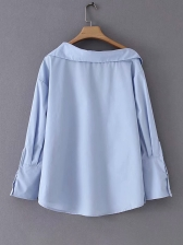 College Style Single-Breasted Irregular Blouse