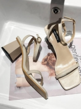 Solid Square Toe Ankle Strap Chunky Heeled Sandals