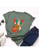 Summer Crew Neck Short Sleeve Birds Printed T-shirt