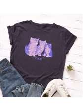 Cats Printed Round Collar Short Sleeve T-shirt
