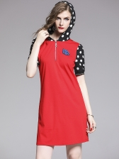 Hooded Collar Contrast Color Dots Casual Dress