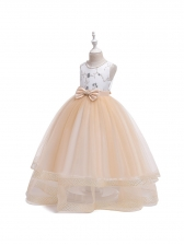 Princess Solid Bow Decor Sleeves Gauze Girls Dress