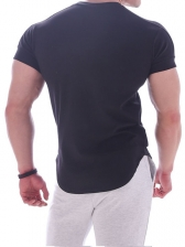 Solid Color Round Collar Short Sleeve Sports T-shirt