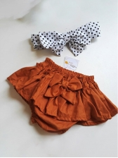 Polka Dots Binding Bow Pleated Skirt Girls Sets