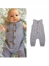 Sleeveless Striped Button Up Baby Rompers