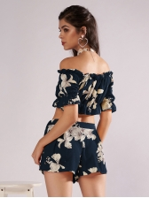 Off Shoulder Agaric Laces Flower Cropped 2 Pieces Sets