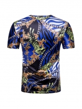 Vintage Style Crew Neck Printed Short Sleeve Tee For Men