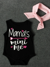 Summer Letter Printed Baby Girl Romper With Scarf