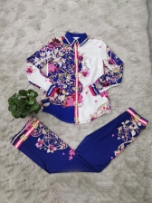Vintage Style Flower Printed Long Sleeves Two Sets