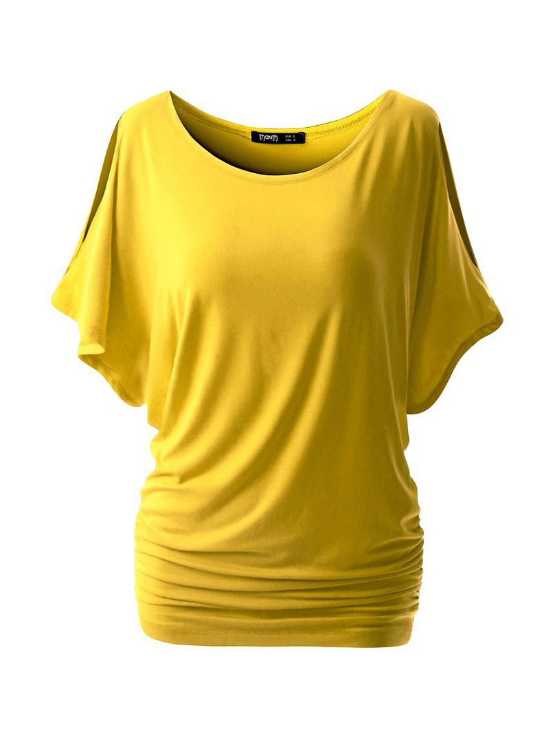 Solid Color Bat Sleeve Tee Shirt For Women