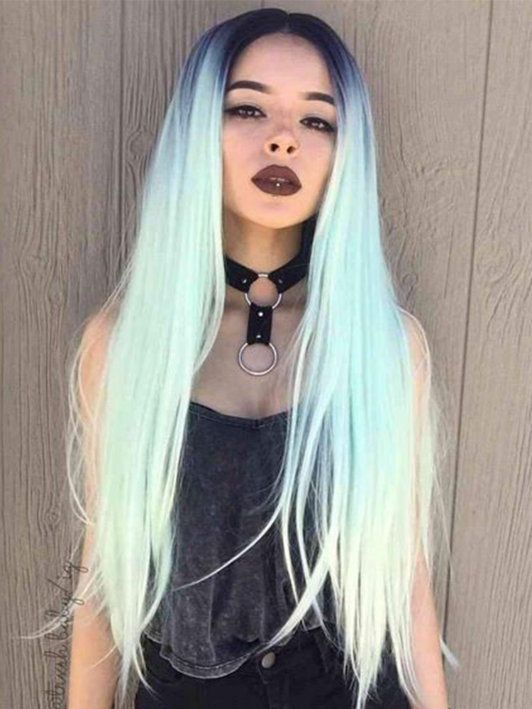 Black Gradient Silky Long Straight Synthetic Wig