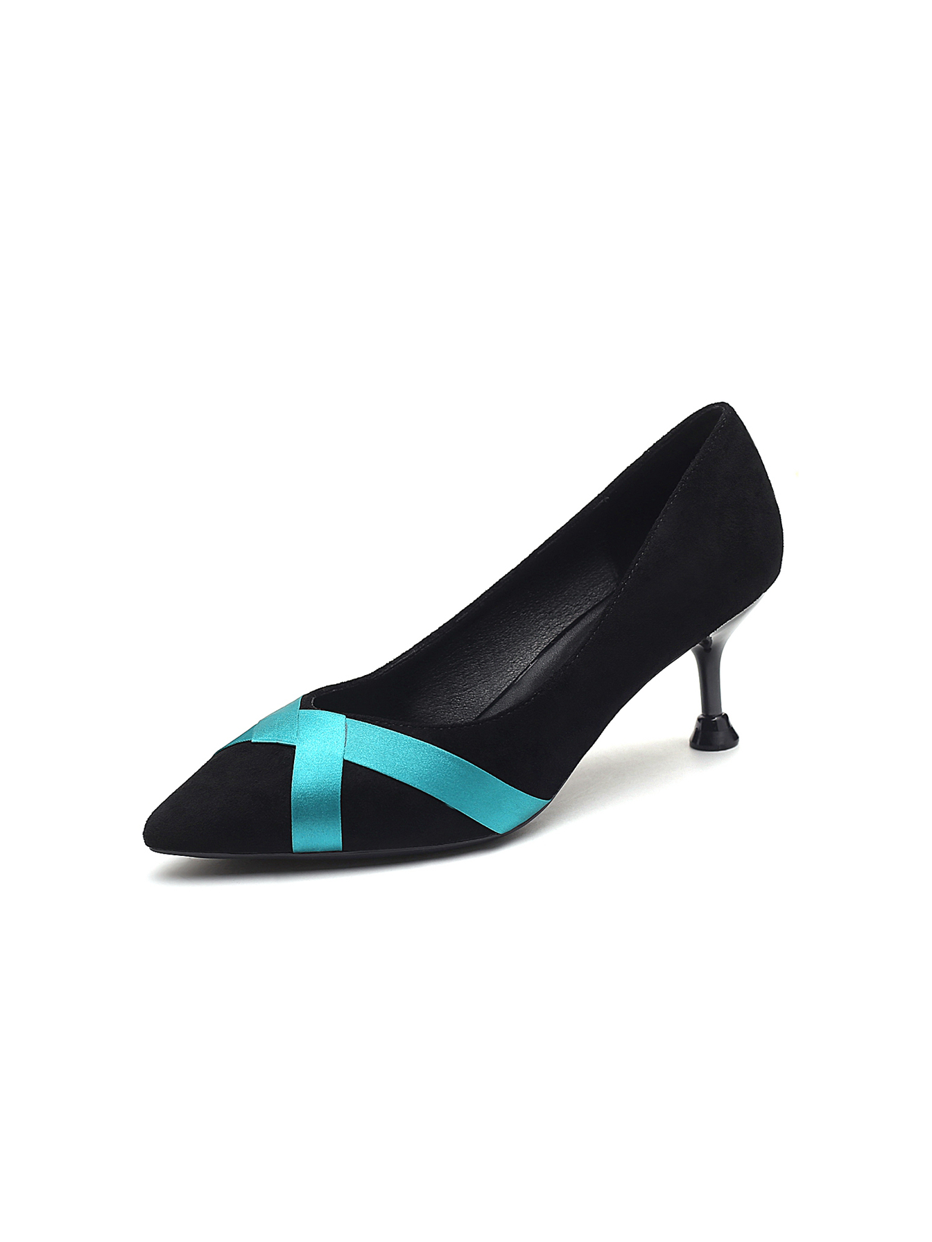 Ribbon Patchwork Pointed High Heels