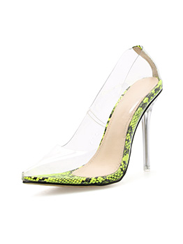 Clear Animal Printed Stiletto Heels For Women