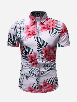 Casual Hawaii Printed Turndown Collar Shirt For Men
