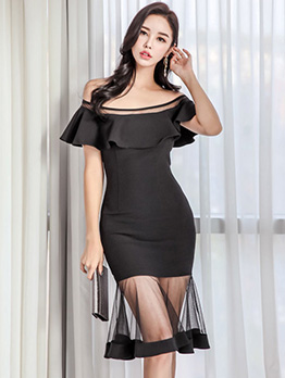 Boat Neck Tulle Patchwork Ladies Ruffles Dresses