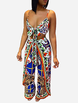 Sexy Straps Lace Up Printed 2 Piece Outfits