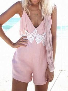 Solid Lace Patchwork Spaghetti Straps Women Rompers