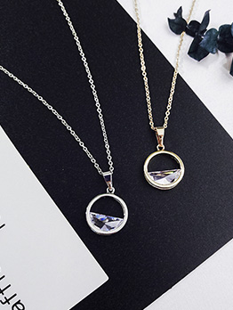 Stylish Hollow Out Round Design Crystal Necklace