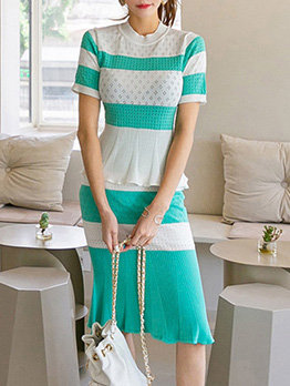 Contrast Color Fitted Knitting 2 Pieces Skirt Outfit