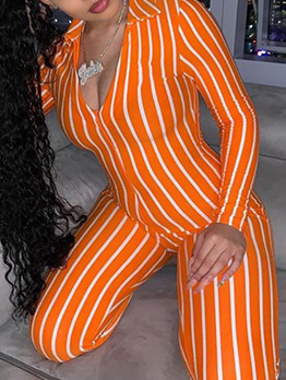 Deep V Striped Long Sleeve Female Jumpsuits