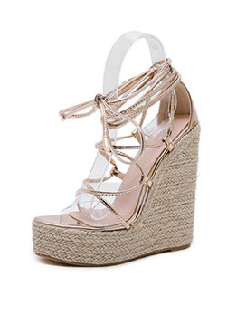 Ethnic Style PVC Patchwork Lace Up Weaving Wedges