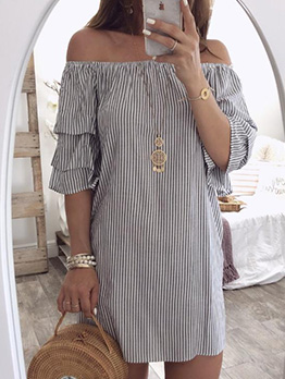 Boat Neck Ruffled Sleeve Striped Short Dress