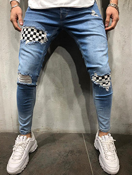 Stylish Plaid Patch Ripped Pencil Pants For Men