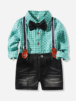 Plaid Long Sleeve Shirt With Denim Overall For Boy