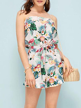 Fashion Flower Printed Strapless Women Rompers