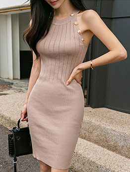 Crew Neck Button Decor Knitted Sleeveless Dress