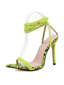 Animal Printed Lace Up Pointed Toe Womens Sandals